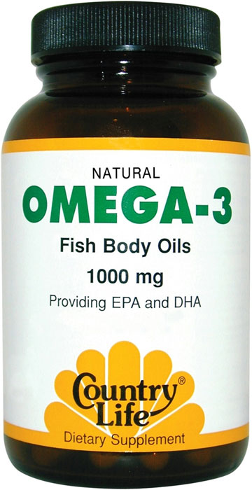 Country life omega 3 1000 mg natural fish body oils 200 for Fish oil 1000 mg