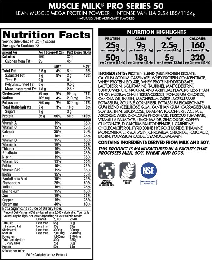 Muscle Milk Pro Series 50 Intense Vanilla 2 54 Lb 28