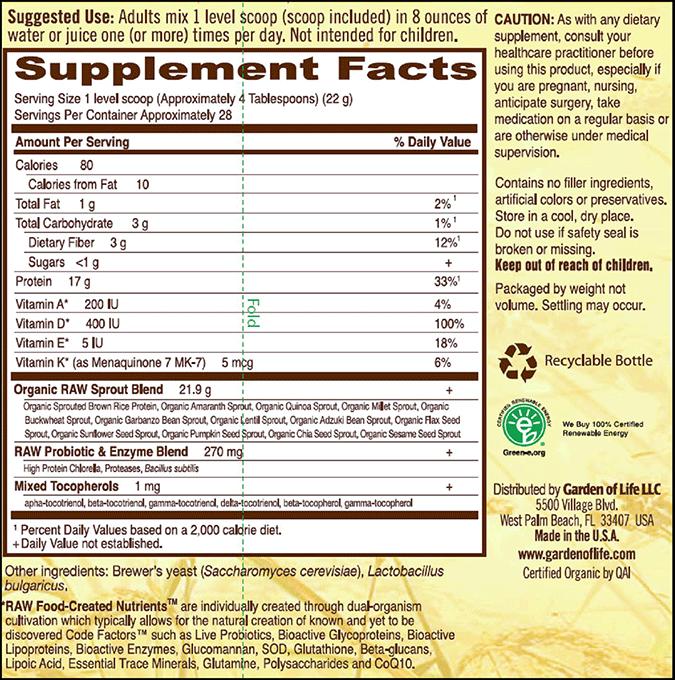 Garden Of Life Raw Protein Original 22 oz 622 gm 28 Servings