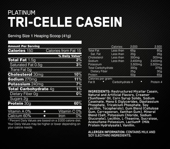 Optimum Nutrition Platinum Tri Celle Casein Vanilla Bliss