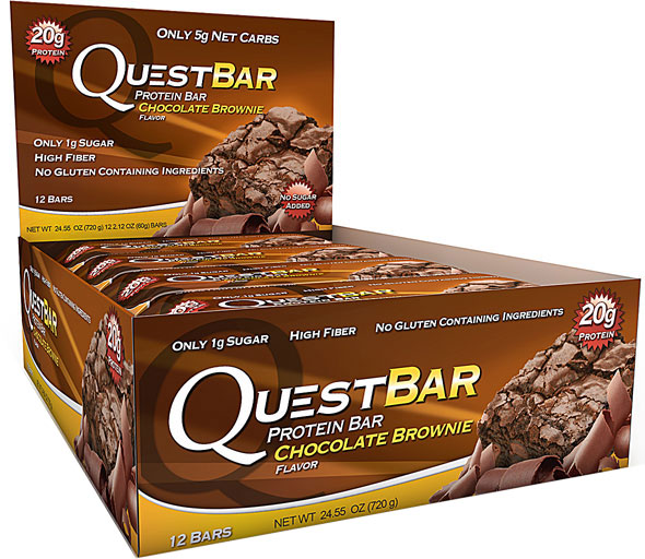Questbar chocolate brownie low carb protein bar 12 2 for Muscle food quest bar