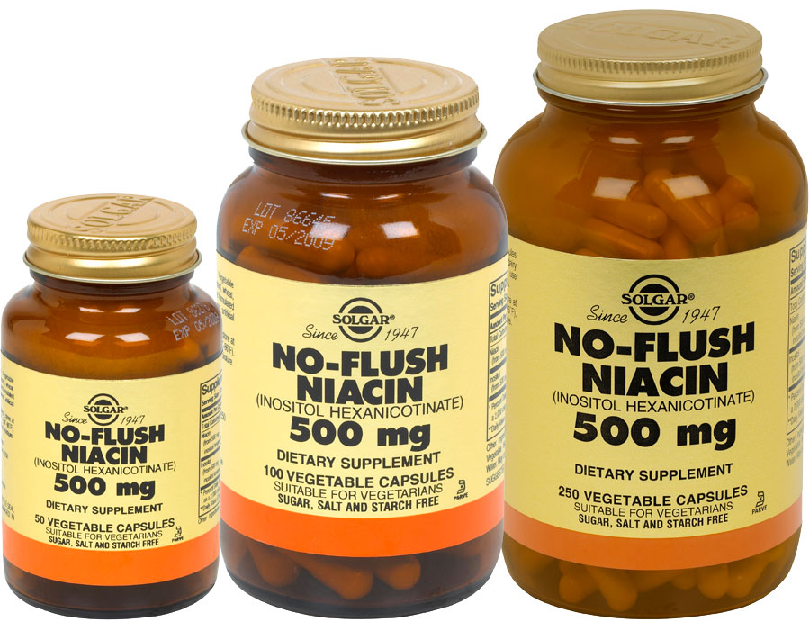 Solgar No-Flush Niacin 500 mg Vegetable Capsules Vitamin B3  Inositol    Niacin Flush Workout