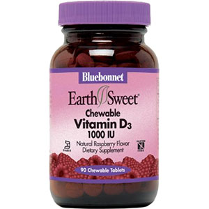Bluebonnet EarthSweet Vitamin D3 1000 IU 90 Chewable Tablets