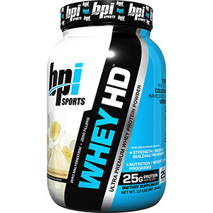 BPI WHEY-HD ULTRA PREMIUM Whey Protein Powder Banana Marshmallow 2 lb - 25 Servings