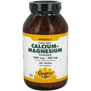 Country Life Calcium-Magnesium Complex 1000 / 500 mg 180 Tablets