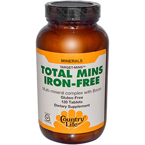 Country Life Total Mins Iron-Free Multi-Mineral Complex 120 Tablets