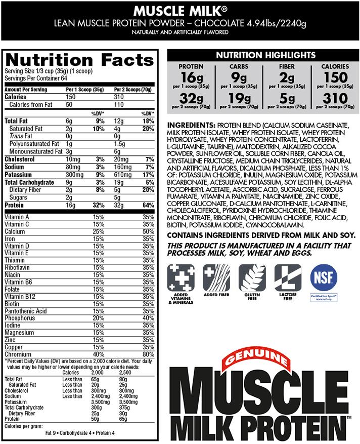 Muscle Milk Powder Chocolate 4 94 Lb
