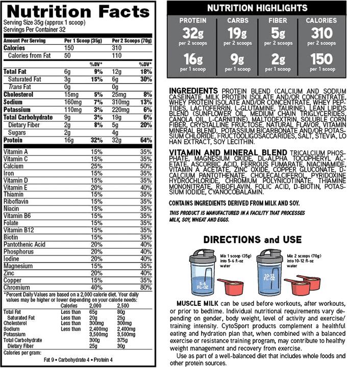 Cytosport Muscle Milk Naturals Powder 2 47 Lb 32 Servings