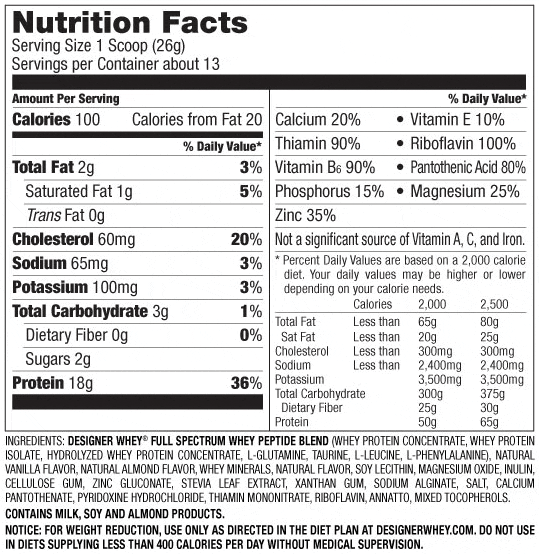 Designer Whey Protein Chocolate Nutrition Facts