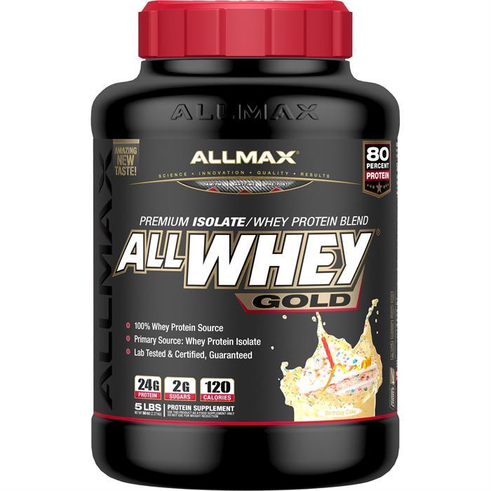Allmax Nutrition AllWhey Gold Protein Powder Birthday Cake 5 Lb