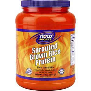 NOW Sports Sprouted Brown Rice Protein Powder Unflavored 2 lb - 181 Servings