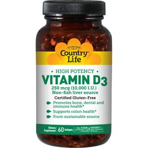 Country Life VITAMIN D3 10,000 I.U. - 200 Softgels