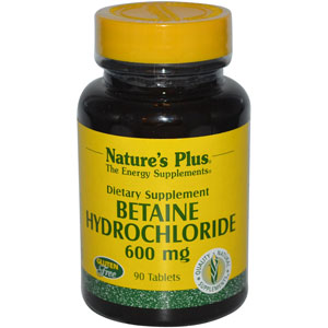 Nature's Plus Betaine Hydrochloride 600 mg 90 Tablets