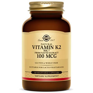 Solgar Natural Vitamin K2 (MK-7) 100 mcg - 50 Vegetable Capsules